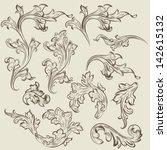 vector set of swirl vintage... | Shutterstock .eps vector #142615132