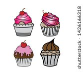 cup cake set vector. sliced  ... | Shutterstock .eps vector #1426166318