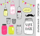 glass jars  frames and cute... | Shutterstock .eps vector #142616716