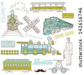 collection of vintage trains... | Shutterstock .eps vector #142616746