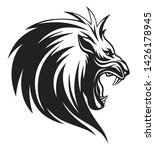 Black And White Lion Head With...