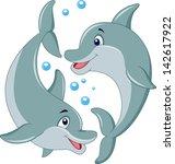 cute dolphin couple cartoon | Shutterstock .eps vector #142617922