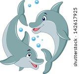 cute dolphin couple cartoon | Shutterstock . vector #142617925