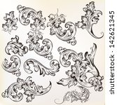 vector set of swirl vintage... | Shutterstock .eps vector #142621345