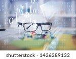 data tech hologram with glasses ...   Shutterstock . vector #1426289132