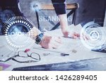 writing man with technology...   Shutterstock . vector #1426289405