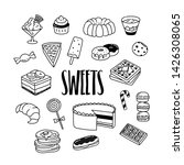sweets and desserts hand drawn... | Shutterstock .eps vector #1426308065