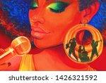 jazz song music. oil painting.... | Shutterstock . vector #1426321592