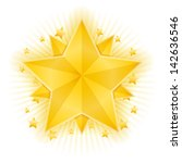 golden stars on white backgroud ... | Shutterstock .eps vector #142636546