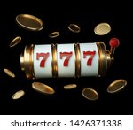 Gold Slot Machine With Red...