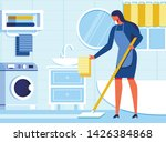 woman housekeeper cleaning... | Shutterstock .eps vector #1426384868