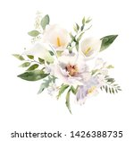 Stock photo beautiful handpainted watercolor floral arrangement bouquet of white flowers calla lilies 1426388735