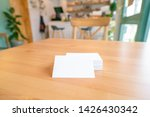 blank business cards on wooden...   Shutterstock . vector #1426430342