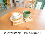 hot coffee on wooden table.   Shutterstock . vector #1426430348