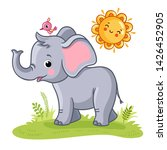 baby elephant stands on a green ... | Shutterstock .eps vector #1426452905