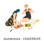 funny adorable young boy and... | Shutterstock .eps vector #1426558145