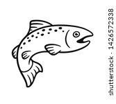 Black And White Salmon Drawing...