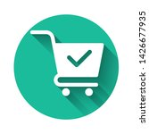 white shopping cart with check... | Shutterstock .eps vector #1426677935