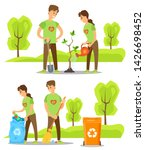 people collecting garbage and... | Shutterstock .eps vector #1426698452