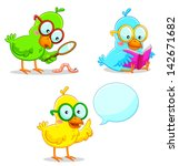 three smart  birds learning and ... | Shutterstock . vector #142671682