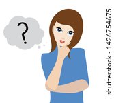 woman thinking about something. ... | Shutterstock . vector #1426754675