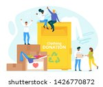 people donating clothes to... | Shutterstock .eps vector #1426770872