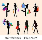 colored bags in hand of lady | Shutterstock .eps vector #14267839