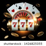 Casino Banner, Gambling Concept, Slot Machine, Roulette Wheel And Four Aces With Golden Coins - 3D Illustration - stock photo