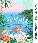 summer family happy holidays ... | Shutterstock .eps vector #1426825892