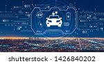 ev with downtown los angeles at ...   Shutterstock . vector #1426840202