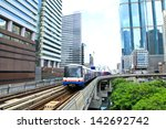 sky train in bangkok with... | Shutterstock . vector #142692742