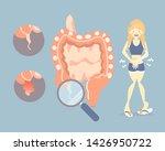 woman having stomachache in... | Shutterstock .eps vector #1426950722