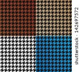Trendy houndstooth patterns made out of tiny squares in a variety of different colors that tile seamlessly as a pattern. This vector is fully editable. - stock photo