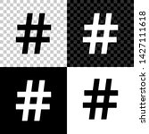 hashtag icon isolated on black  ...