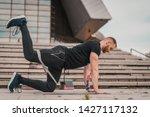 Man Doing Fitness Exercises...
