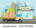 post office on city street and... | Shutterstock .eps vector #1427135585