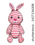 Stock photo cute cartoon toy rabbit bunny hare pink stripes watercolor illustration hand drawn isolated 1427136308