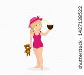 baby girl on summer beach ... | Shutterstock .eps vector #1427138522