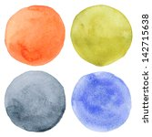 watercolor hand painted circles ... | Shutterstock . vector #142715638
