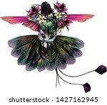 bird hummingbird with open... | Shutterstock .eps vector #1427162945