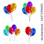 set of colorful helium balloons ... | Shutterstock .eps vector #1427199692