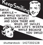 keep smiling 3   retro ad art...   Shutterstock .eps vector #1427202128