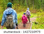 mother and son hiking in the... | Shutterstock . vector #1427210975