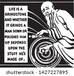 life is a grindstone   retro ad ...   Shutterstock .eps vector #1427227895