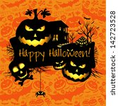 halloween grunge card or... | Shutterstock . vector #142723528
