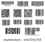 Stock vector set of thirteen barcodes realistic bar code icon a modern simple flat barcode marketing the 1427241755