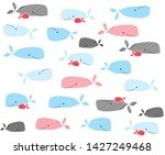 animal pattern whales drawings... | Shutterstock .eps vector #1427249468