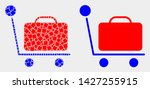 dot and flat baggage cart icons.... | Shutterstock .eps vector #1427255915