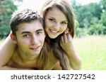 young woman riding on the back... | Shutterstock . vector #142727542
