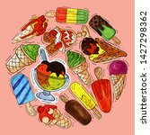 ice cream round pattern summer... | Shutterstock .eps vector #1427298362